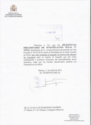 LA FISCALIA DEL TRIBUNAL DE JUSTICIA DE MURCIA VE INDICIOS DE DELITO EN EL CASO DEL PEDÁNEO DE PERIN DENUNCIADO POR SPCT.